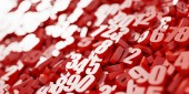 3d red mathematics numbers background