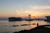 Fotografie beautiful sunset over seashore  in Durres, Albania