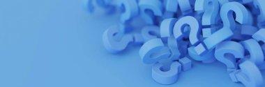 blue question marks, 3d rendering illustration
