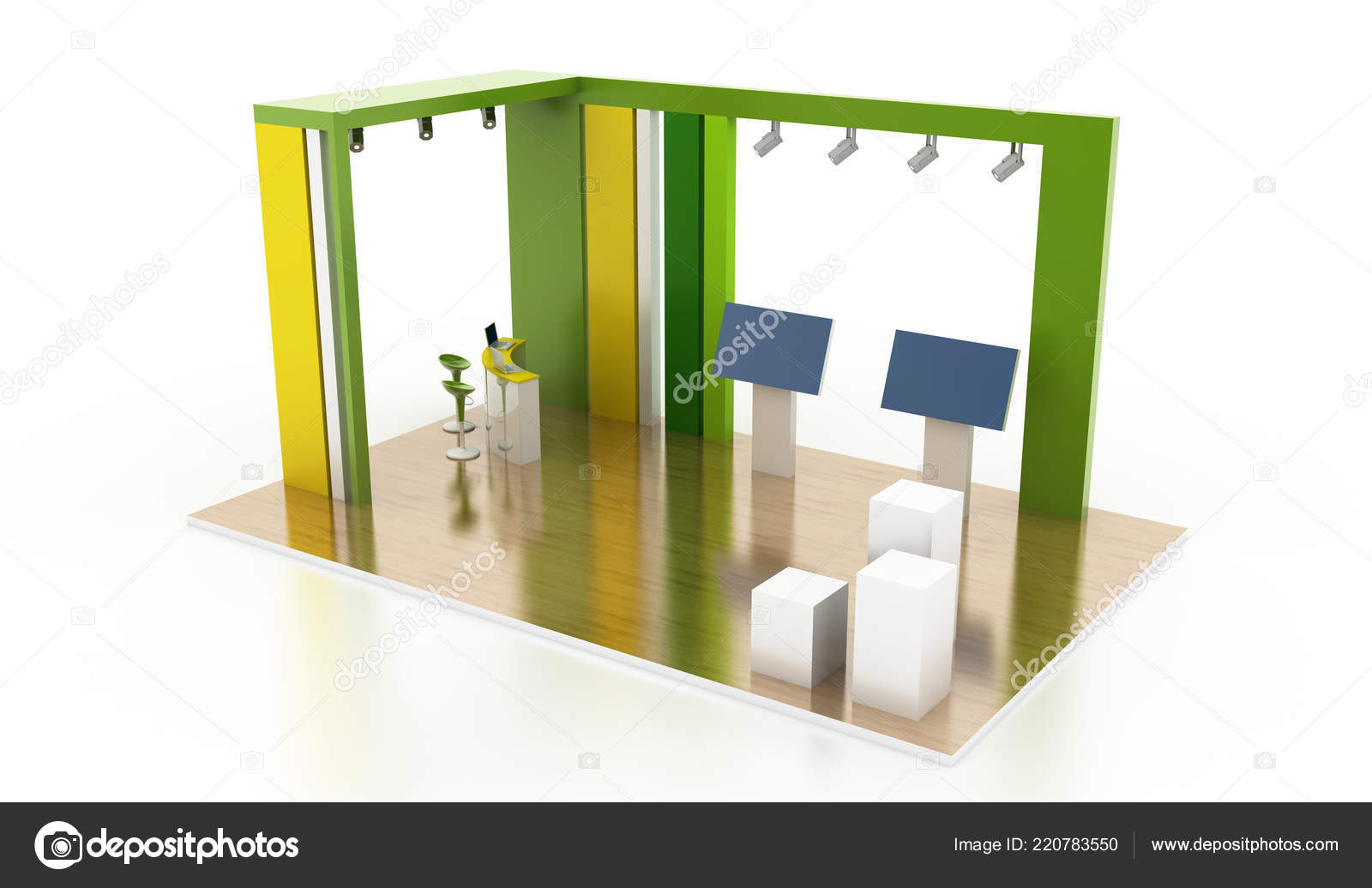 Exhibition Stand Interiors : Green exhibition stand interior original rendering models u stock