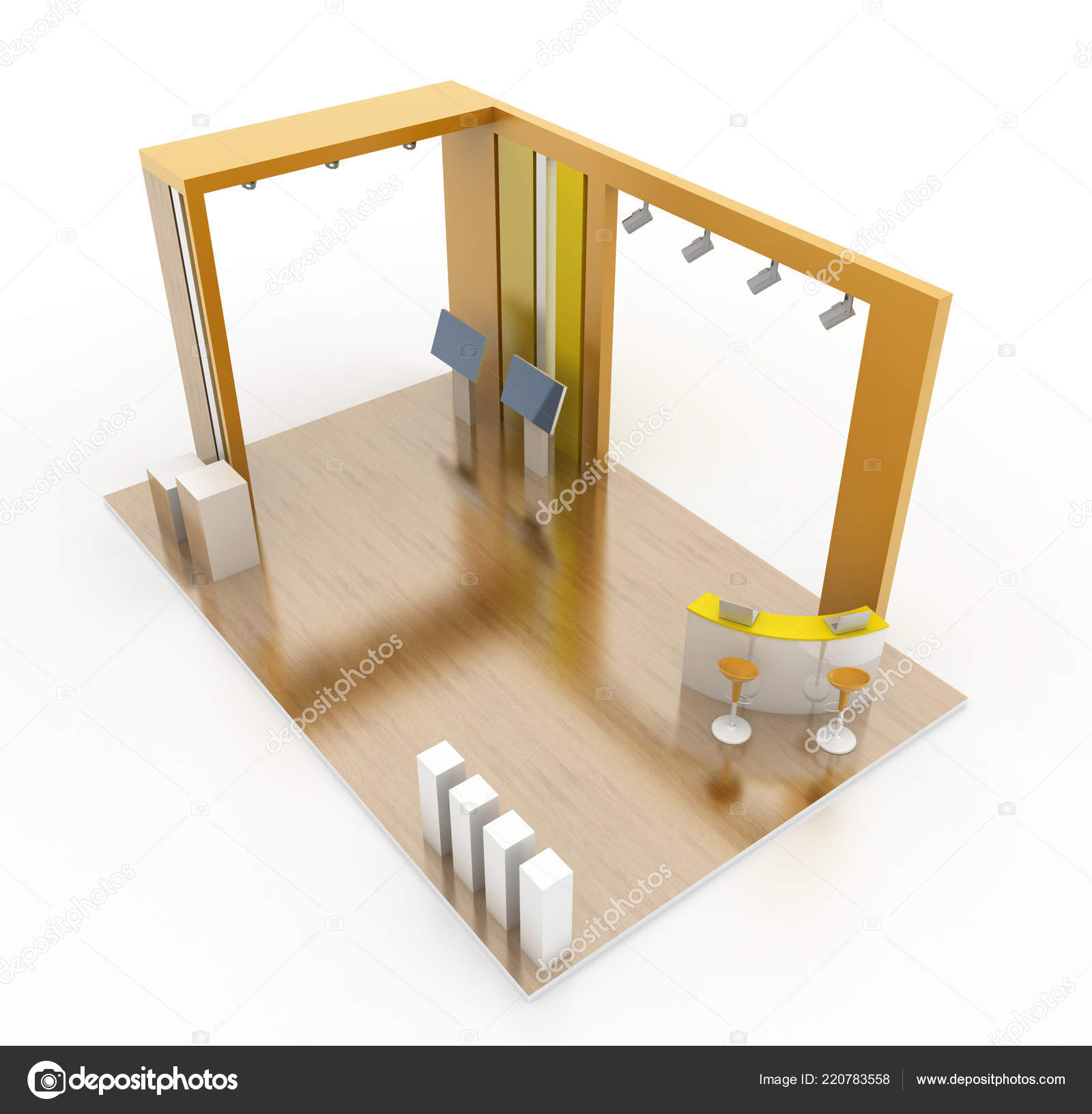 Exhibition Stand Interiors : Wooden exhibition stand interior original rendering models u stock