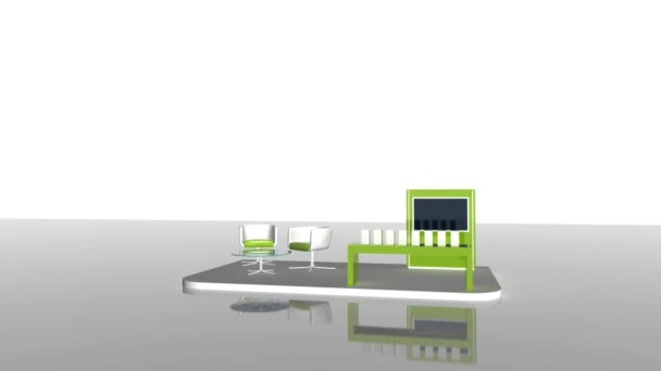 Exhibition Stand Interiors : Video green exhibition stand interior original rendering u stock