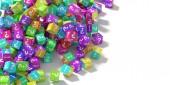 a kérdések és a felkiáltójelek, 3d rendering színes kockák