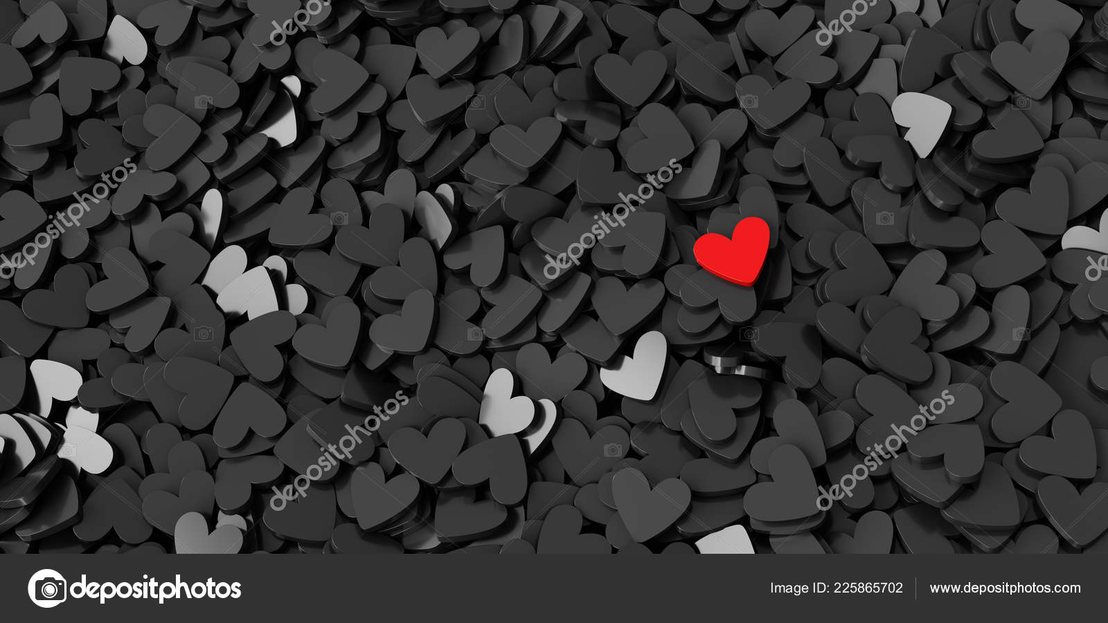 Black Red Hearts Background Original Rendering Love Theme
