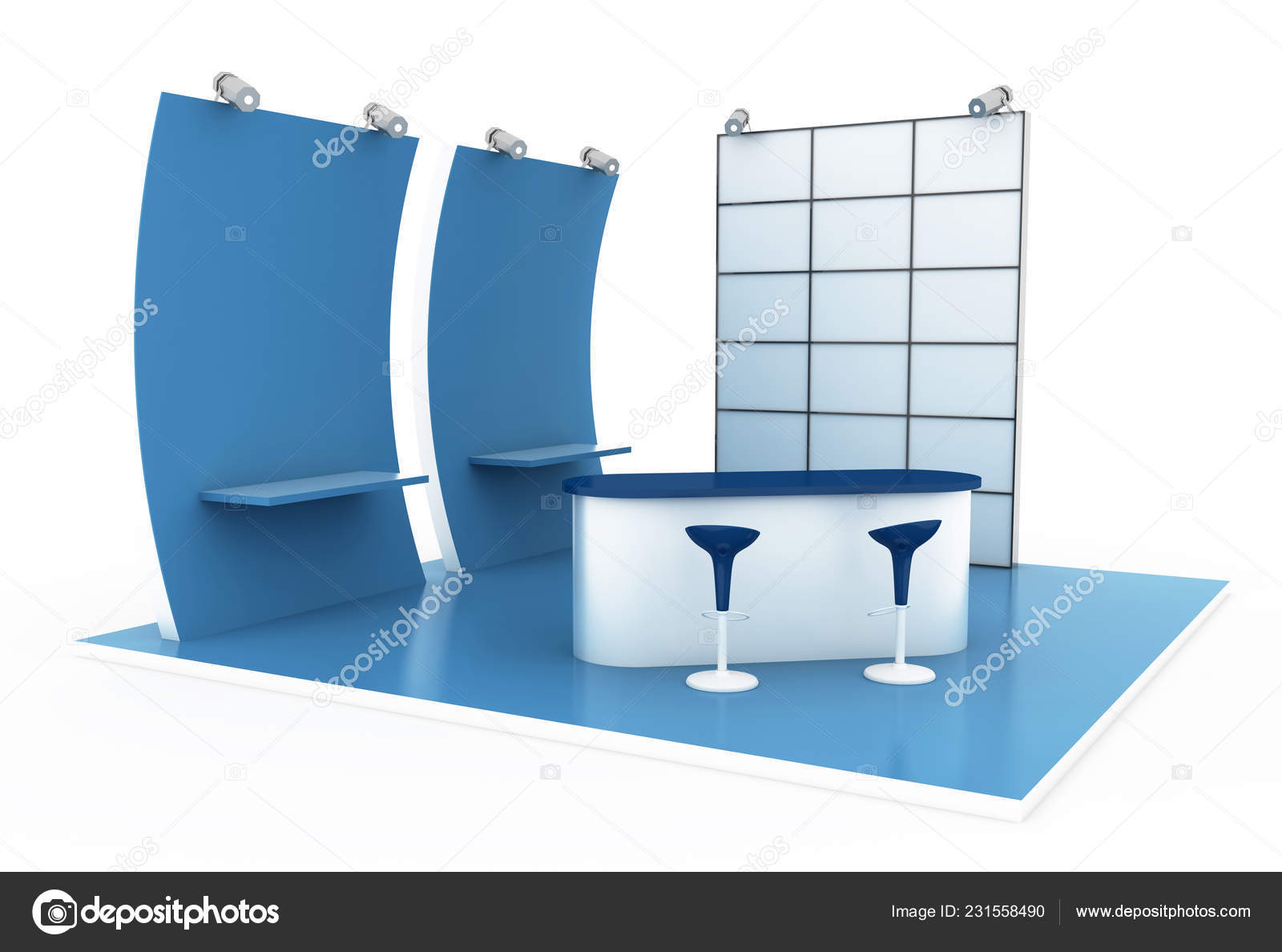 Exhibition Stand 3d Model Free Download : Exhibition stand white original rendering models u stock photo