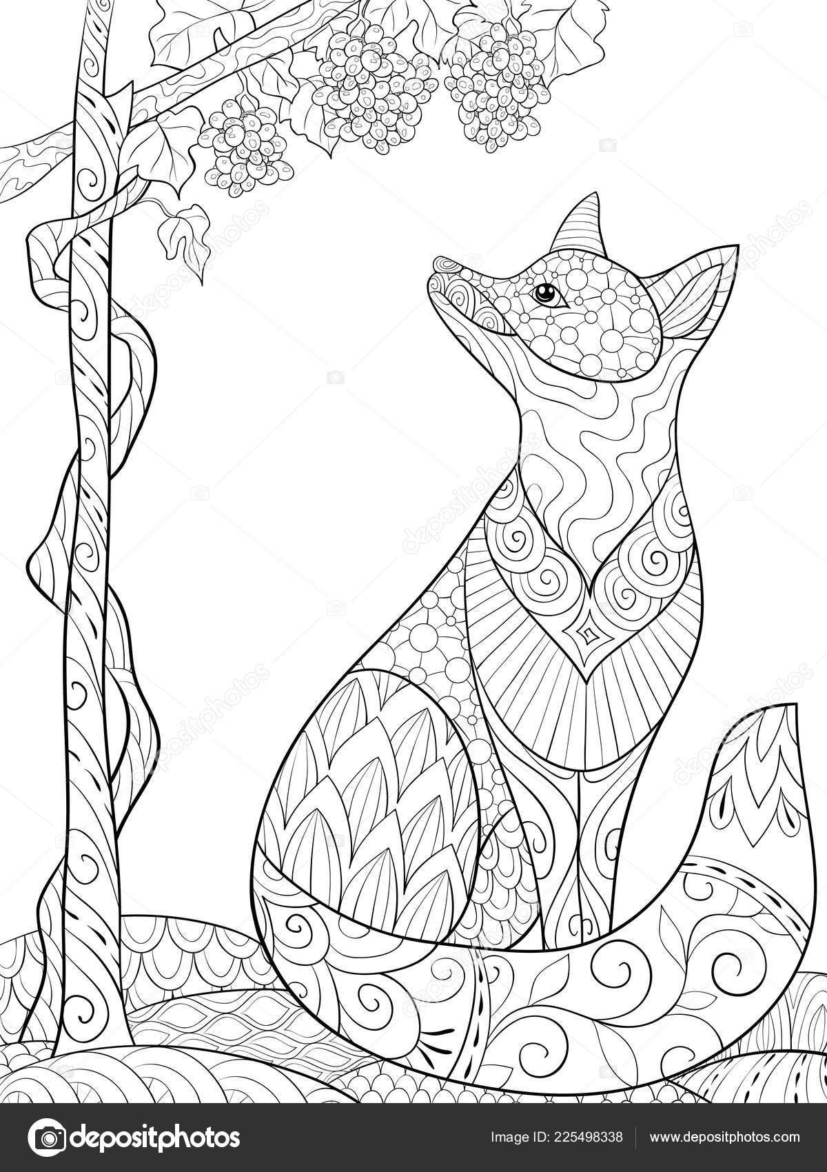 Imagen Página Zorro Cute Dibujos Animados Adultos Libro Para