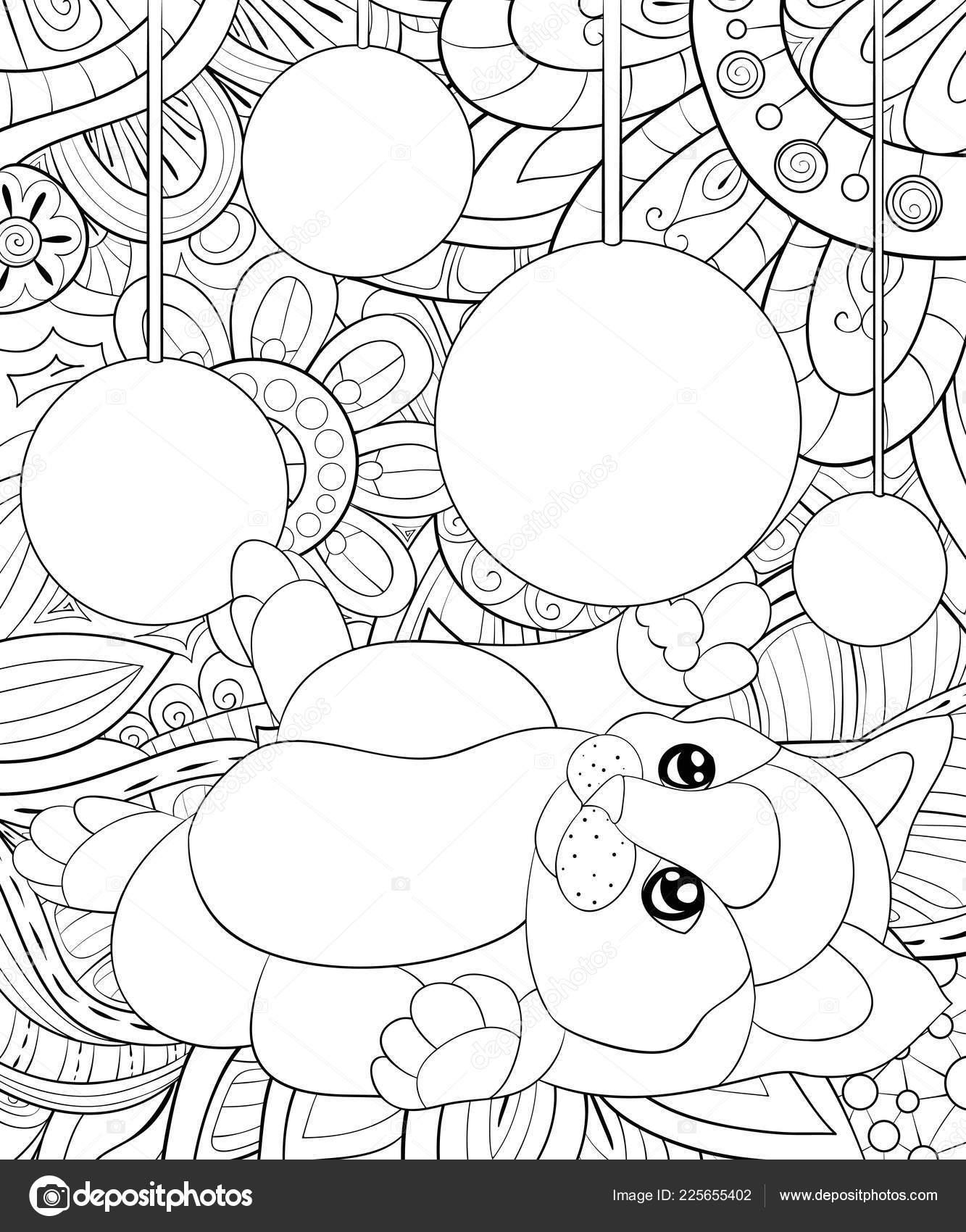 Coloriage Adulte Chat.Livre Coloriage Adulte Page Joli Petit Chat Avec Noel Decoration