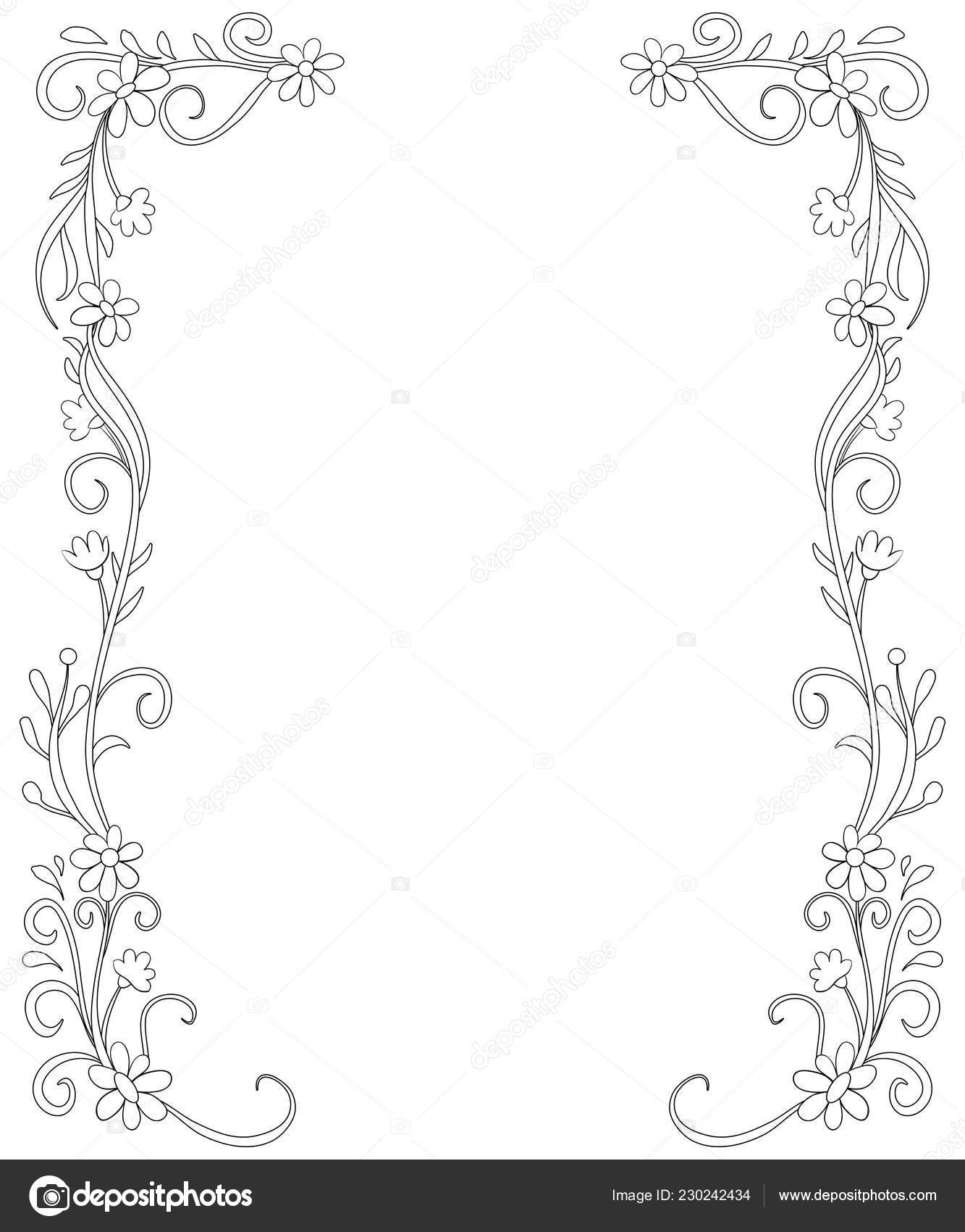 Frame Doodle Flowers Image Adults Children Coloring Book ...