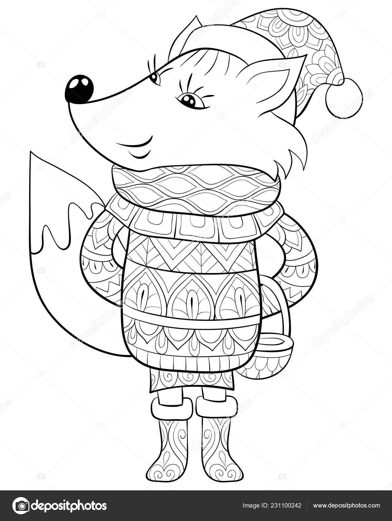 милый мультфильм лиса кепке рождество свитер сапоги мешком