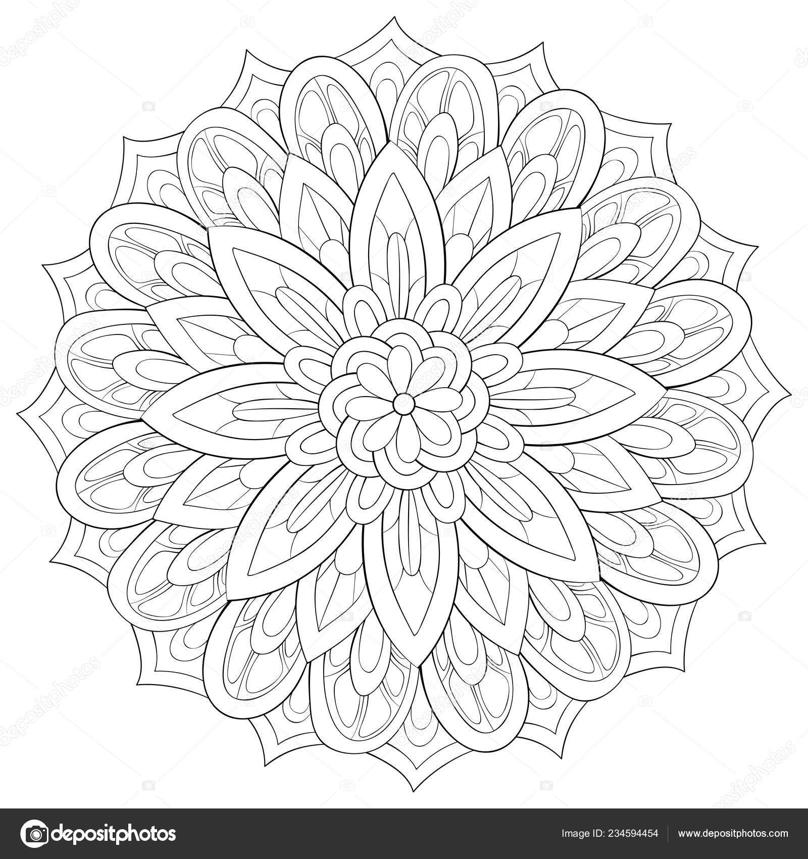 Zen Mandala Image Adults Coloring Book Page Relaxing Activity Zen Vector Image By C Nonuzza Vector Stock 234594454