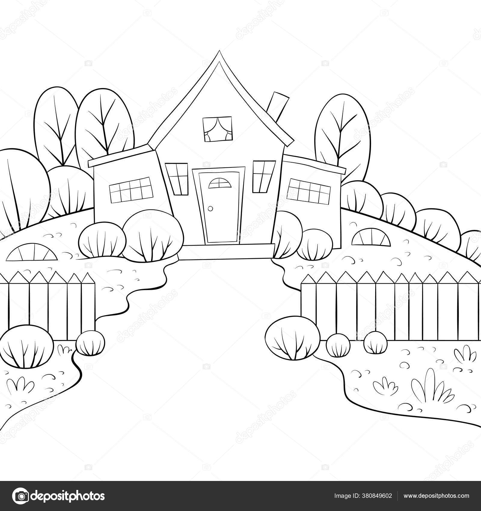Pemandangan Alam Dengan Gambar Rumah Dan Pagar Untuk Kegiatan Santai Stok Vektor C Nonuzza 380849602