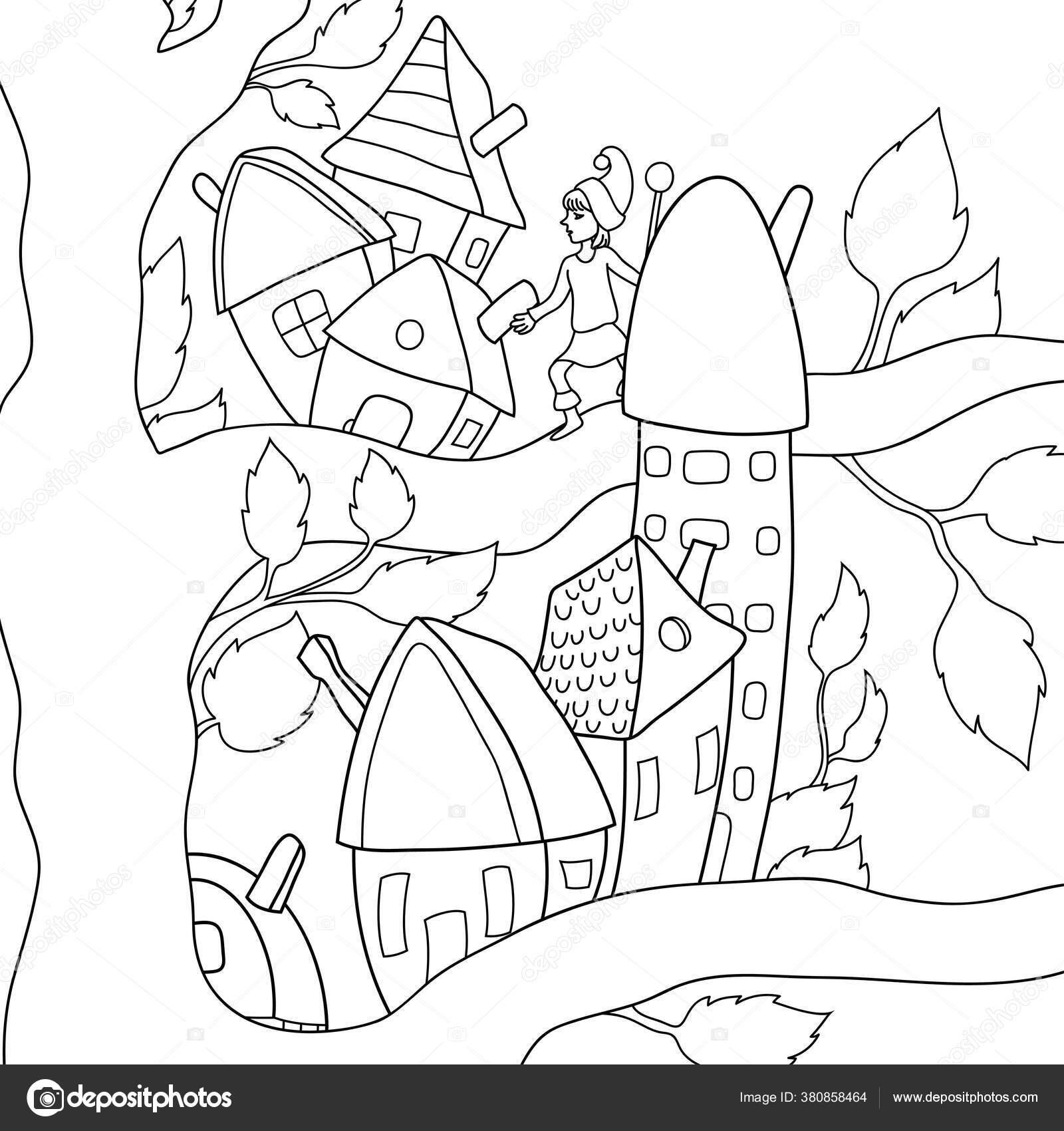 Sebuah Gnome Kartun Lucu Pohon Dengan Rumah Gambar Untuk Relaxing Stok Vektor C Nonuzza 380858464