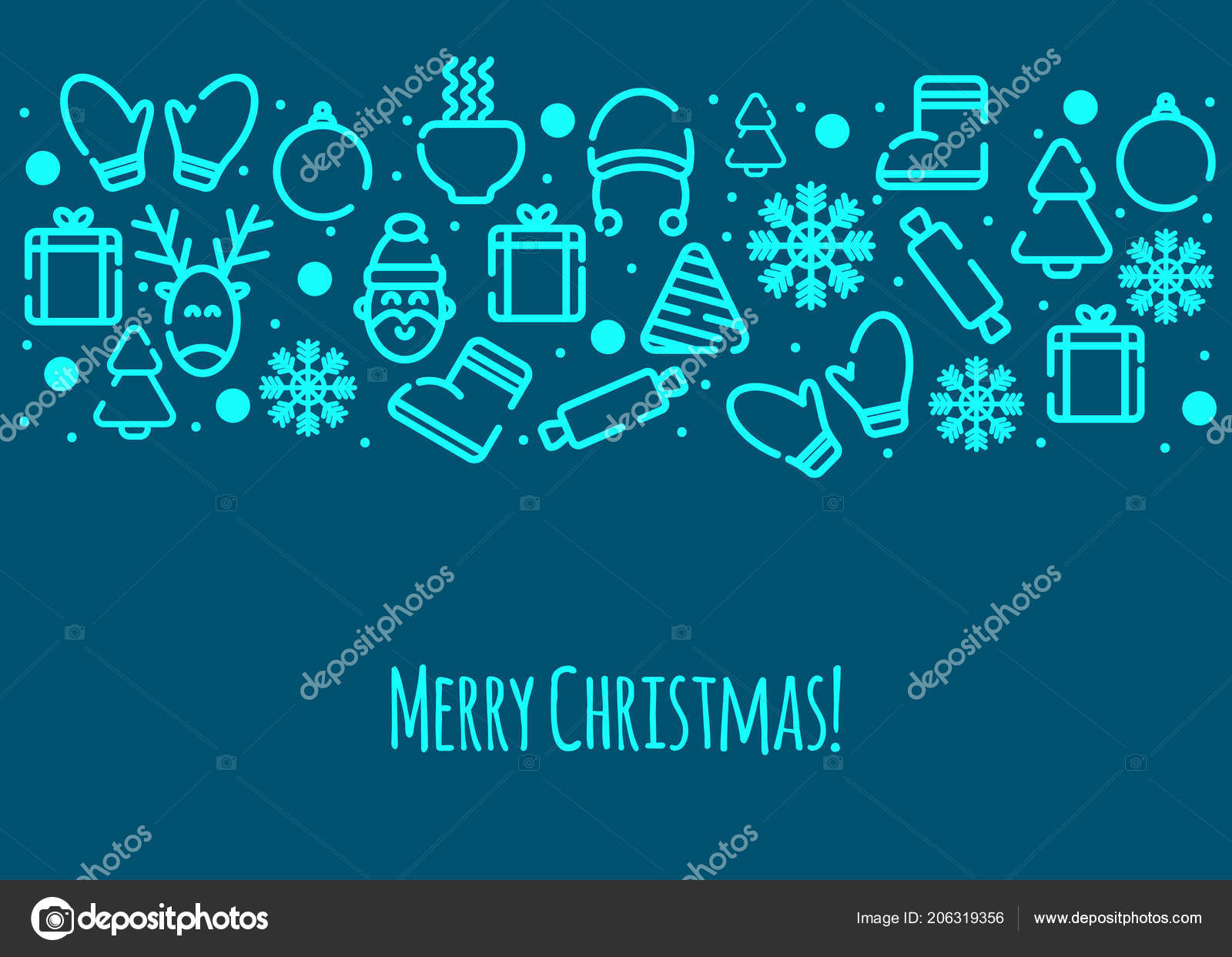 Christmas Card Merry Christmas Greetings Banner Winter Icons