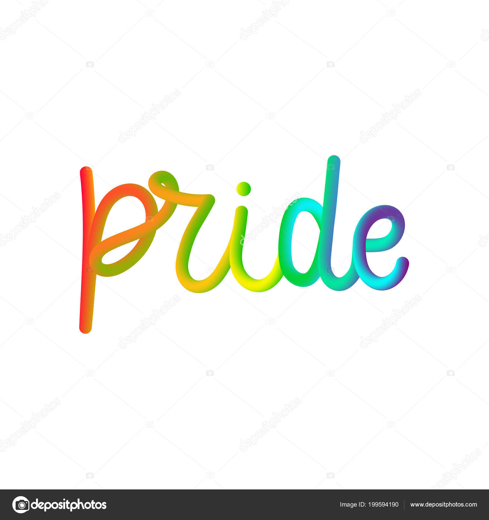 Rainbow Pride 3D lettering quote isolated on the white background. — Stock Vector
