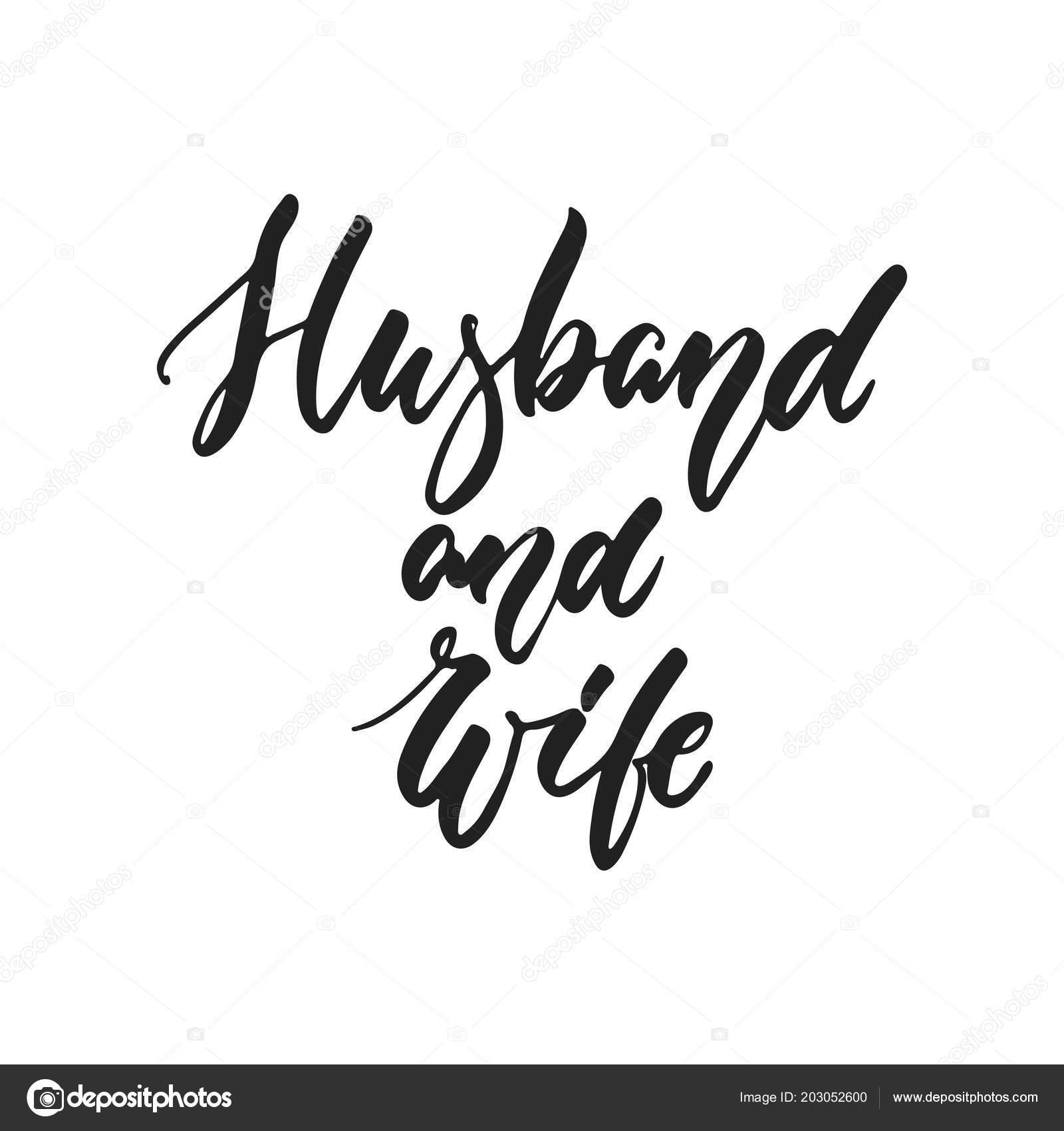 Marido Y Mujer Romántica De Boda Dibujadas Mano Letras