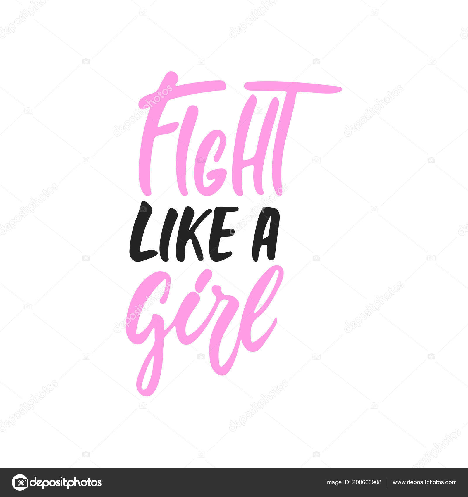 Fight Like A Girl Hand Drawn October Breast Cancer Awareness Month