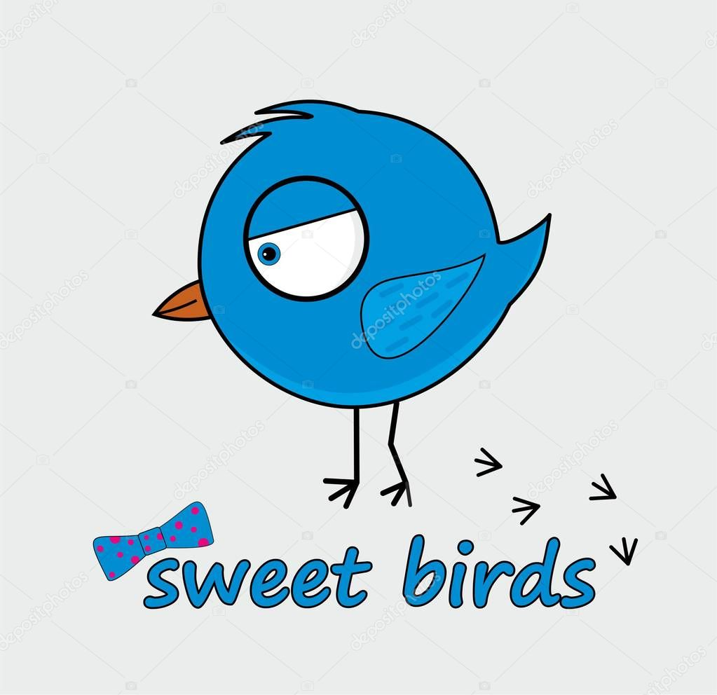 sweet vector cartoon illustration bird