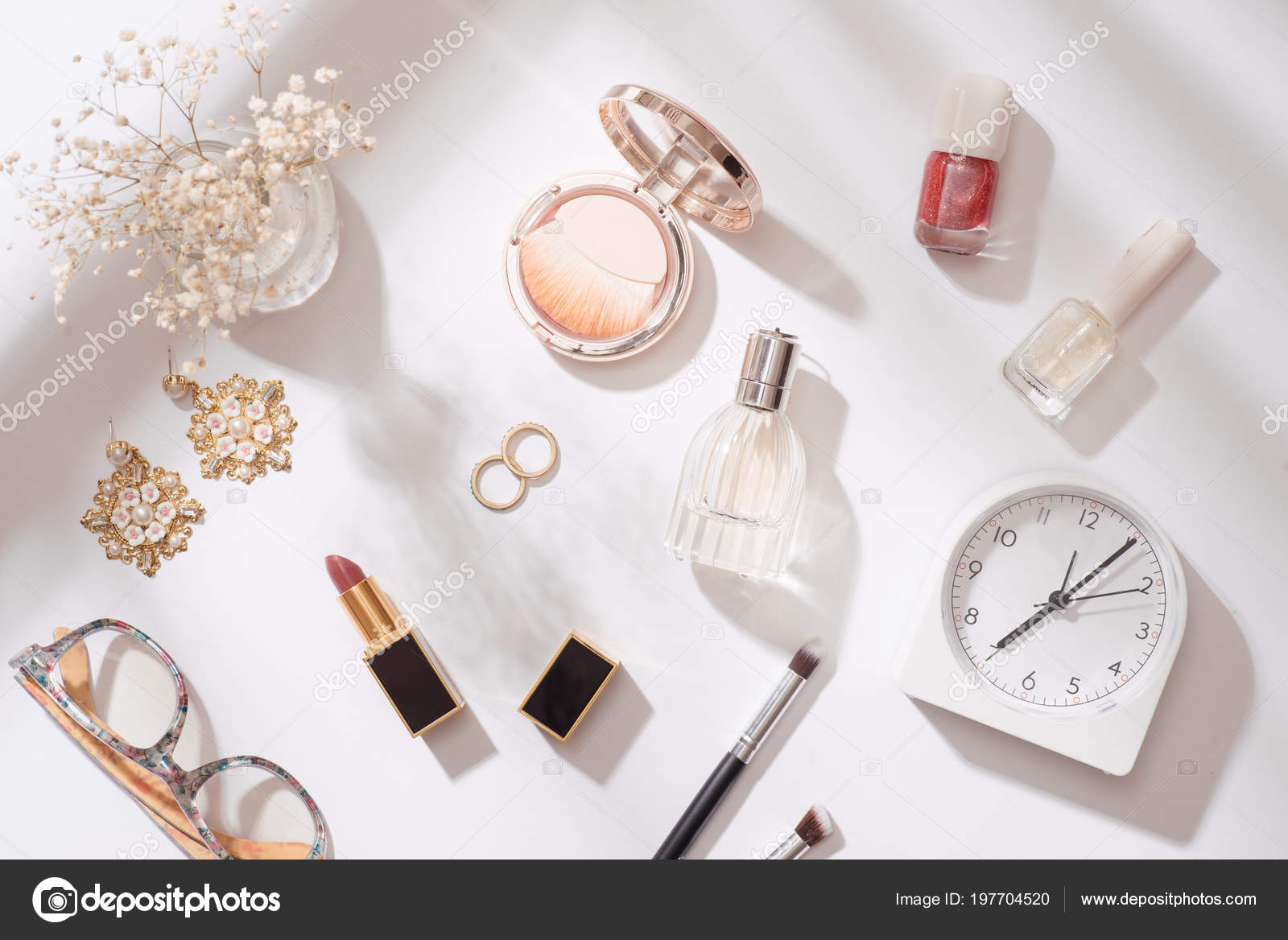 Creative Fashion Composition Stationery Objects Desk Flat Lay Accessories Table Stock Photo Image By C Makidotvn 197704520