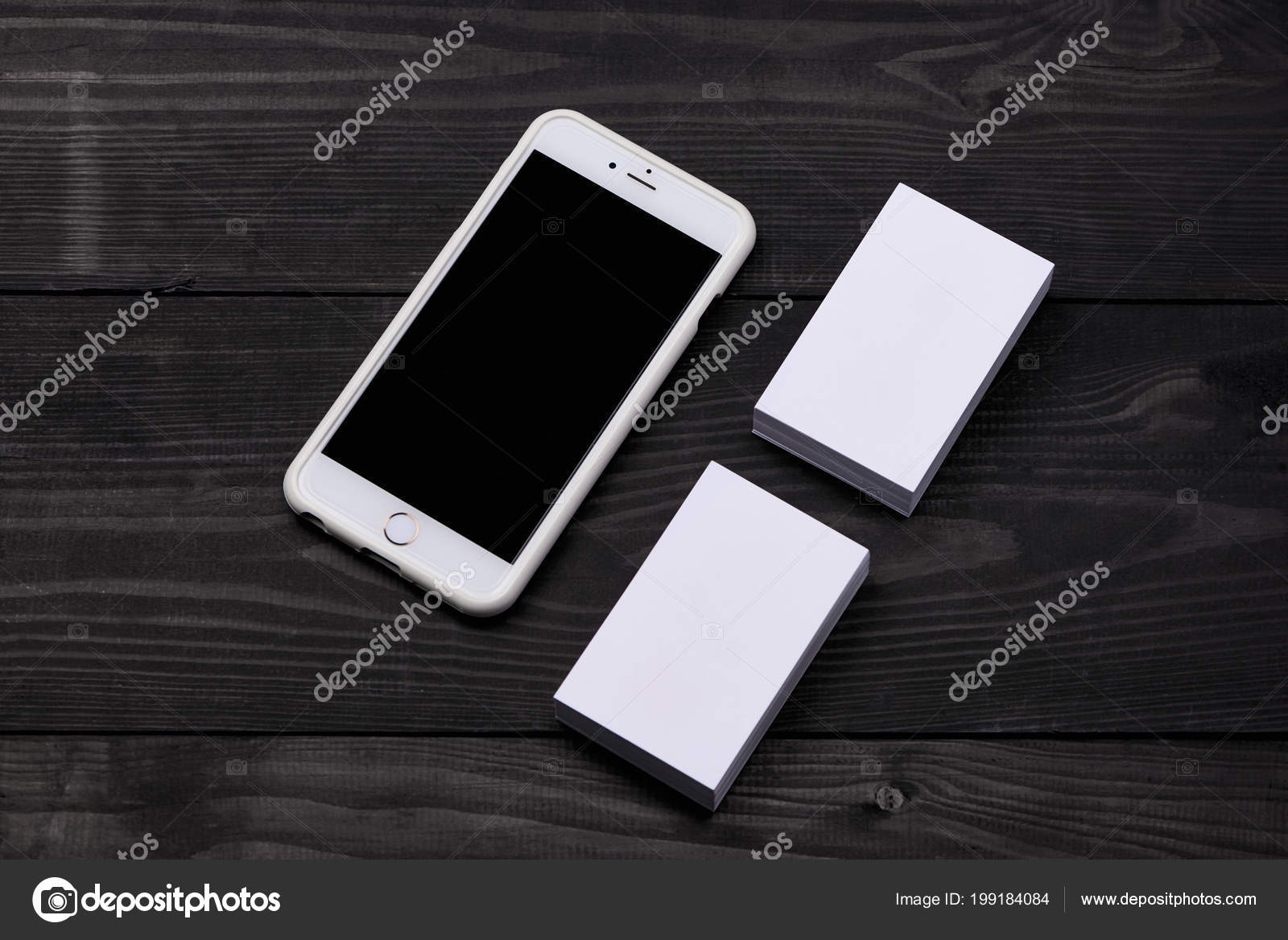 Mockup Cellphone Blank Screen Business Cards — Stock Photo ...