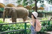 Fotografie Kinder ernähren Asiatische Elefanten in tropischen Safari Park während der Sommerferien. Kinder beobachten Tiere