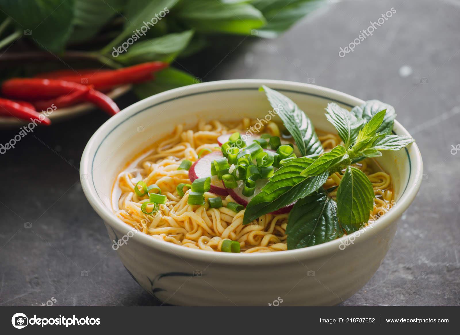 Instant Noodles Bowl Fresh Herbs Garnish Cilantro Asian