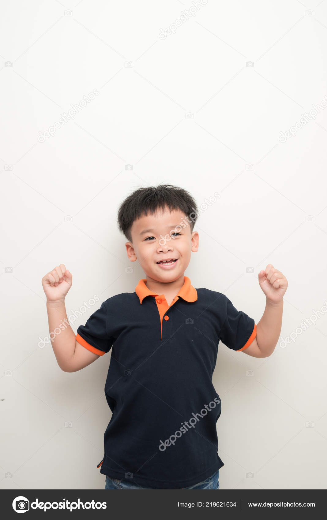 afd5fbfd95004 Happy Smiling Little Boy Wearing Shirt Standing Raised Hand White — Stock  Photo
