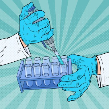 Pop Art Scientist Working with Medical Equipment. Chemical Analysis. Laboratory Test Tube. Scientific Research Concept. Vector illustration