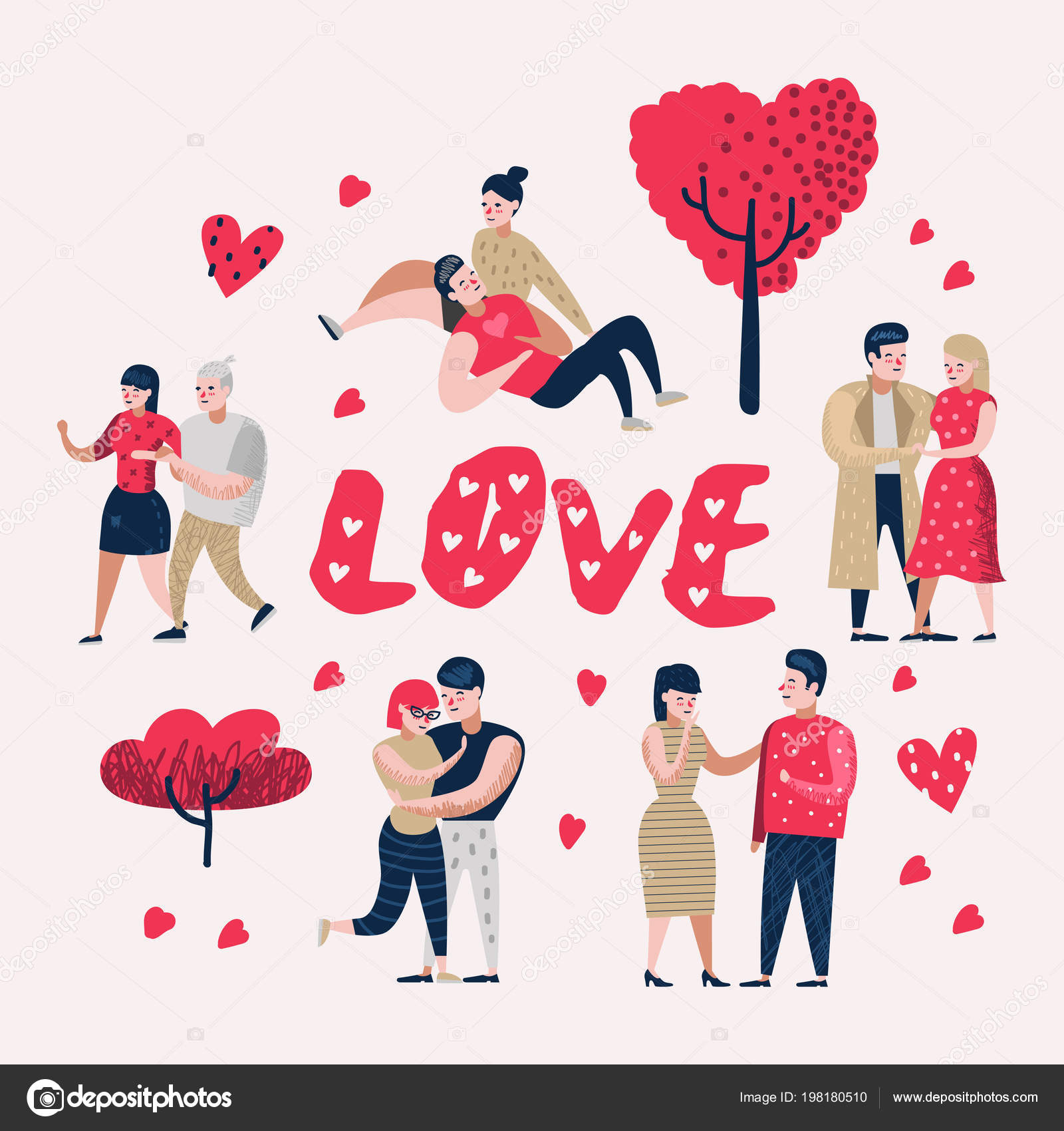 Couple In Love Cartoon Characters People Valentines Day Doodle With