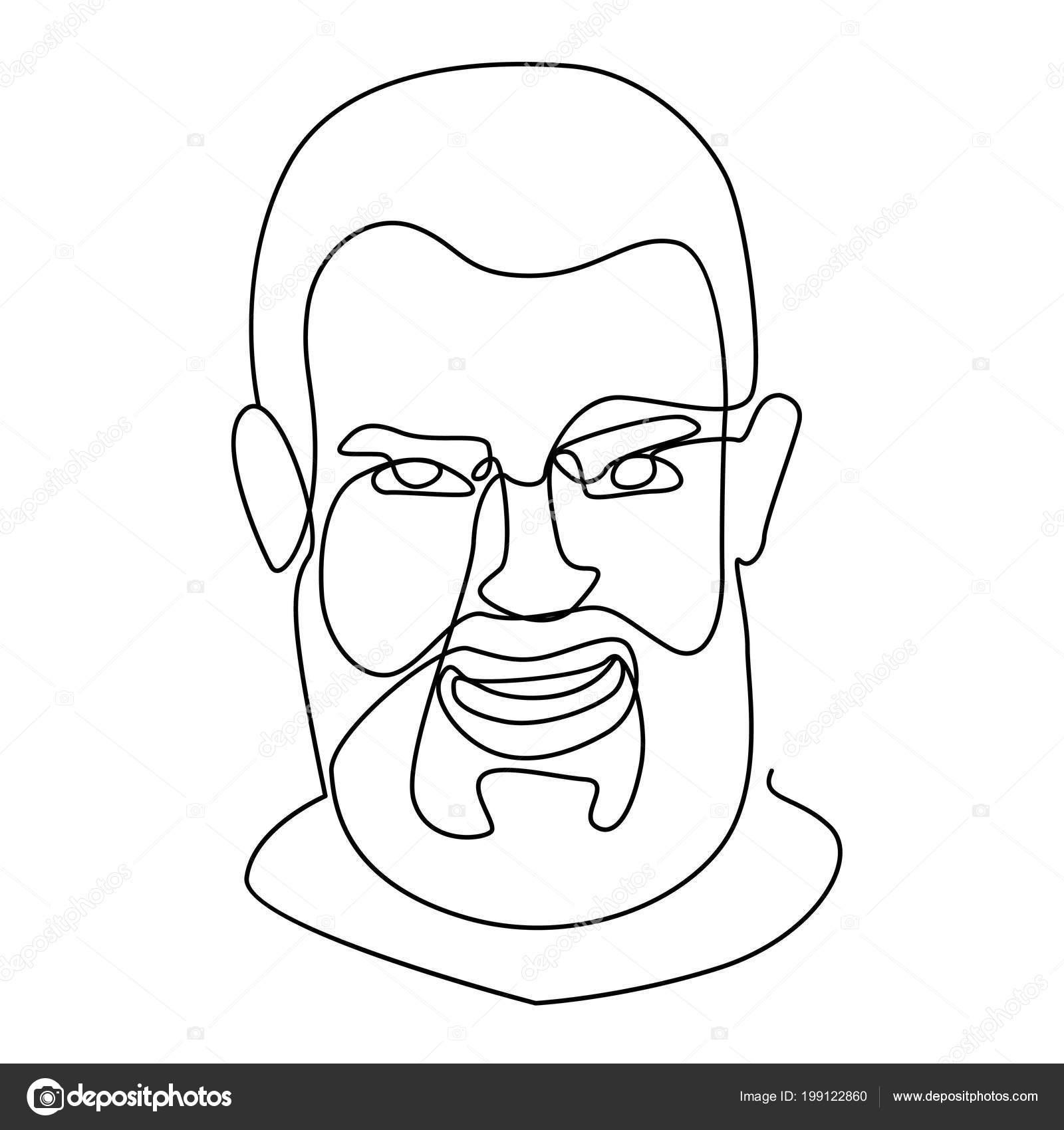 Riant Barbu Homme Un Portrait Dessin Au Trait Expression Du