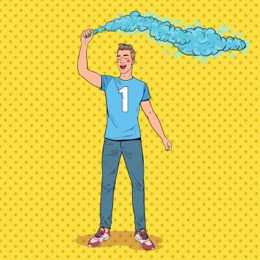 Pop Art Man Soccer Fan Celebrating the Victory of Favorite Team. Football Hooligans. Vector illustration