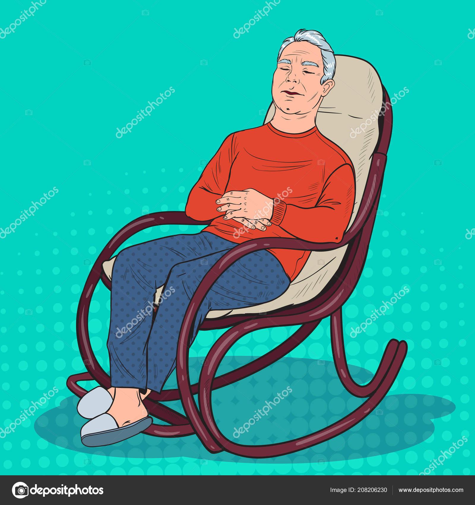 Nonno In Poltrona.Pop Art Senior Che Dorme Nella Sedia Nonno Che Riposa In
