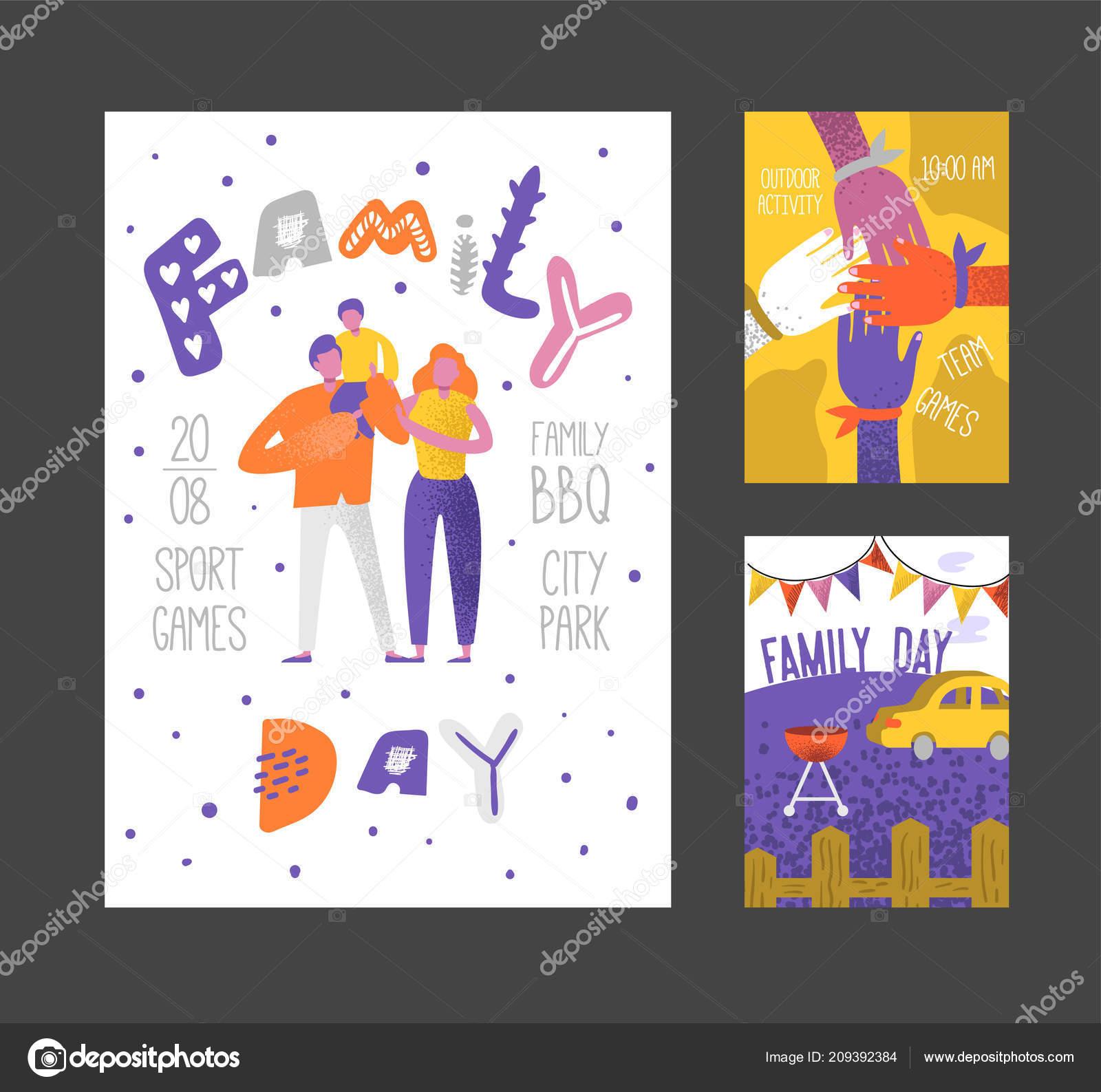Feliz Día Familia Vacaciones Cartel Pancarta Folleto