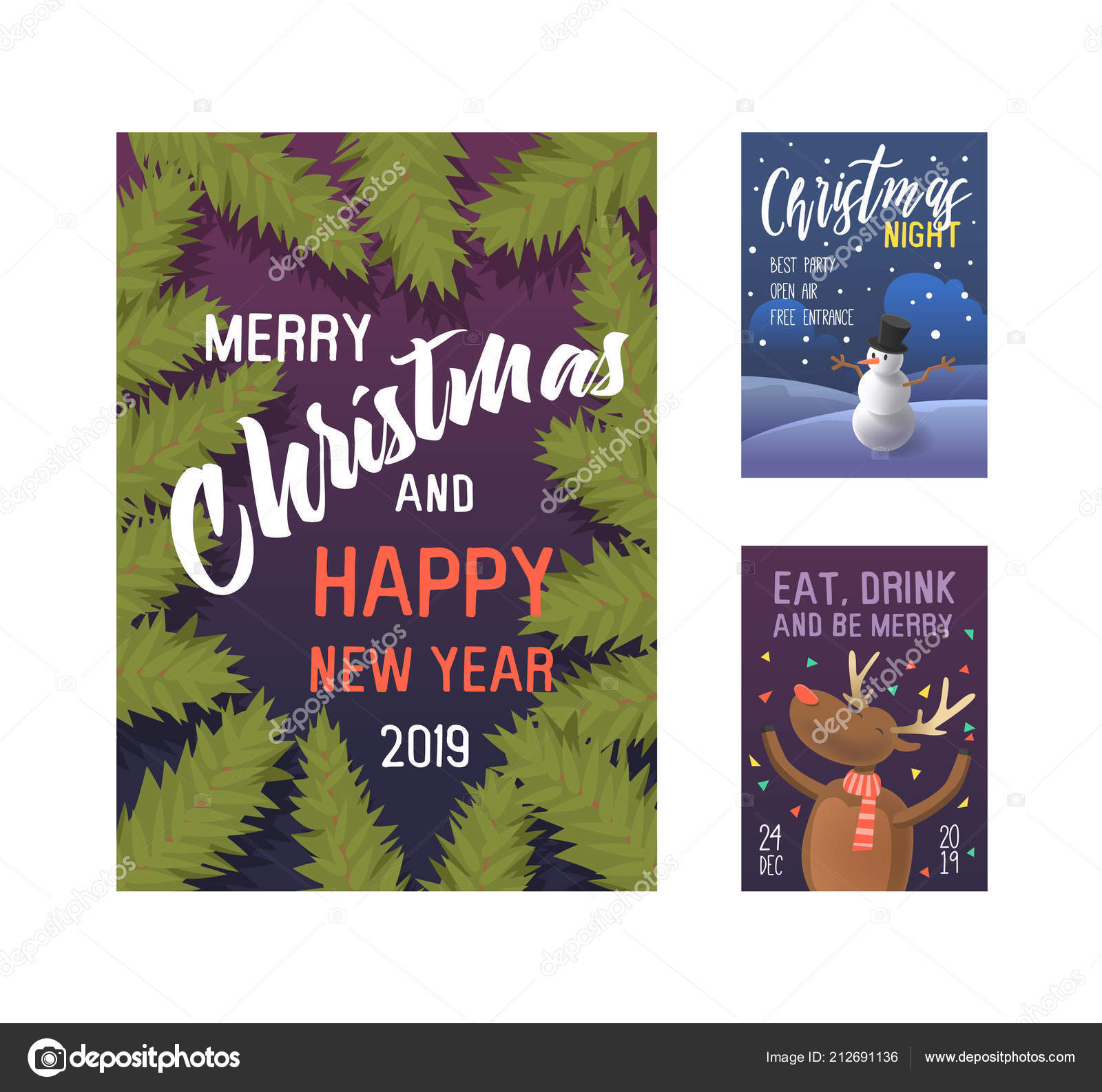 merry christmas 2019 party poster invitation flyer template xmas