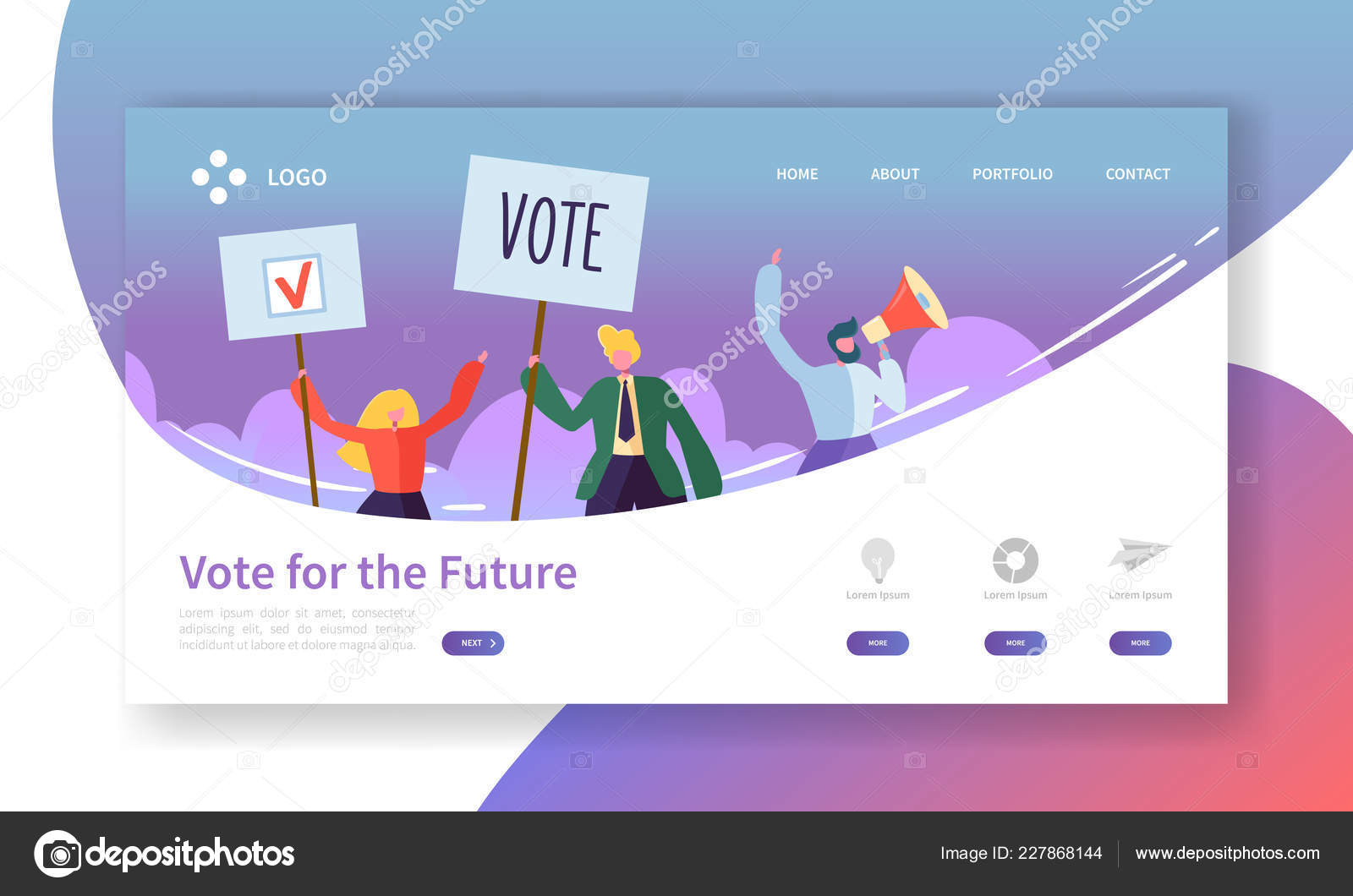 Voting Elections Landing Page Template  Business People