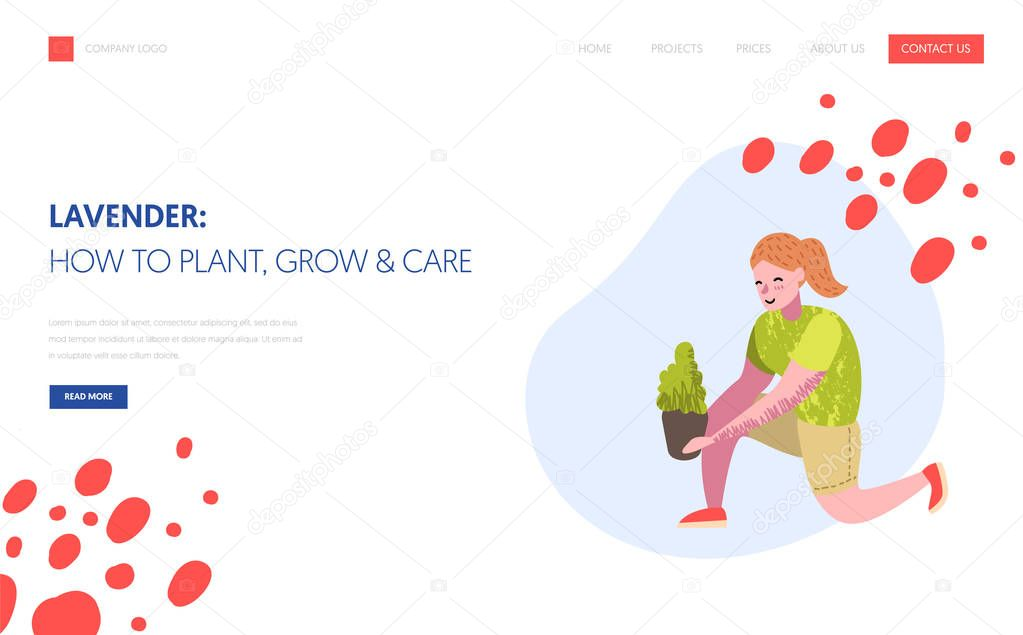 Gardening, Planting Landing Page Template. Character Gardener Growing Plants Concept for Web page or Website. Easy Edit and Customize. Vector illustration