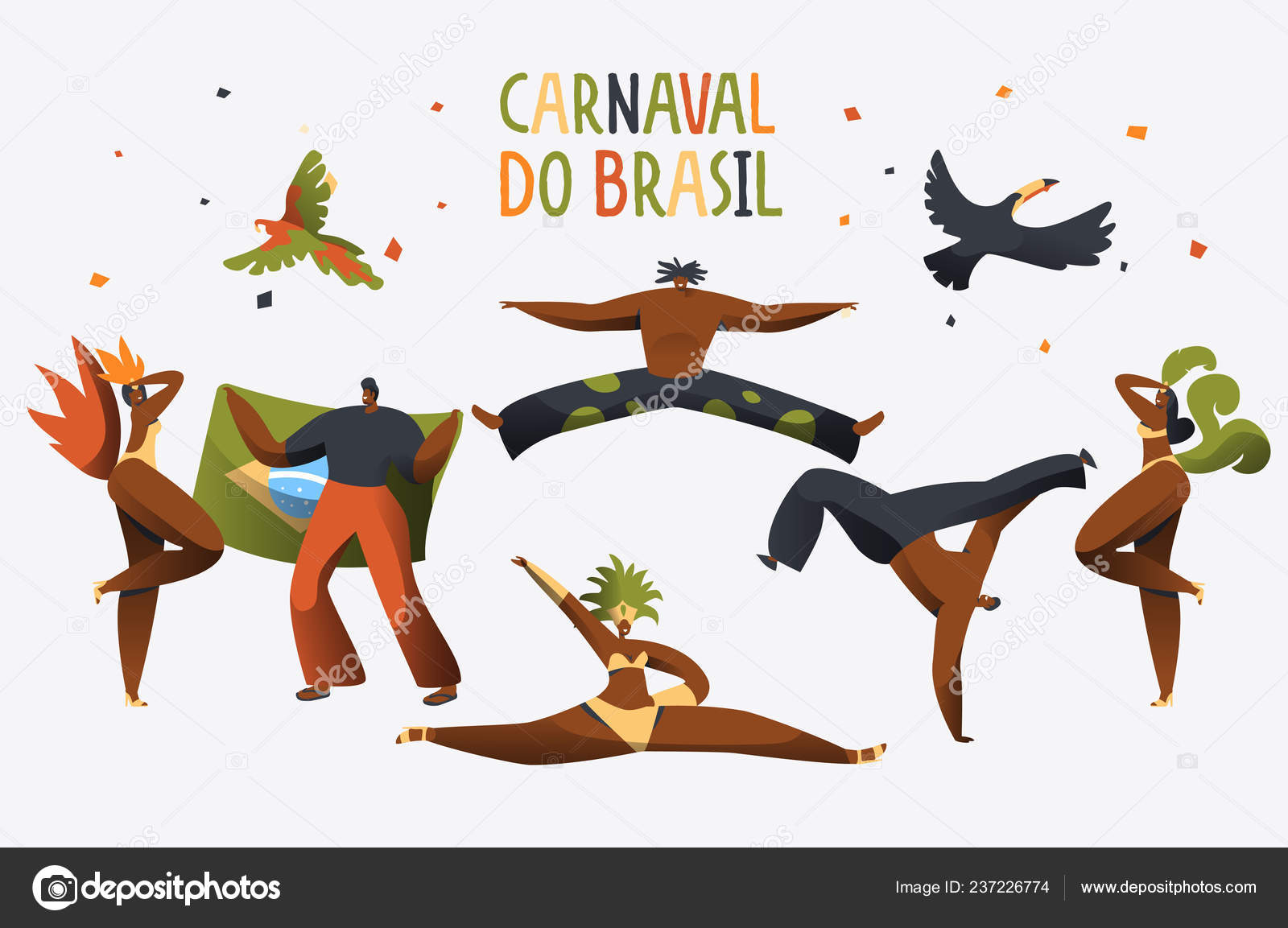 1dd700a4c33c Brasil Carnaval disfraz bailarina personaje bandera. Diseño hombre ...