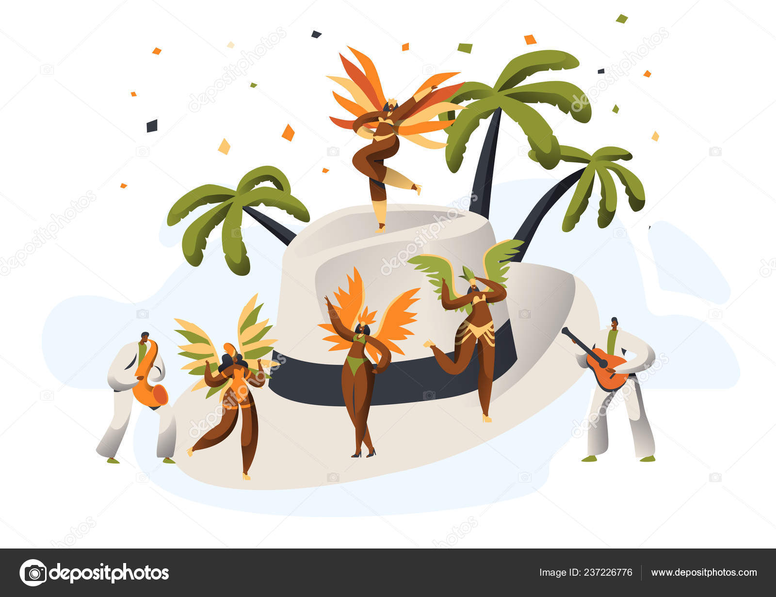 f05cd881908f Samba brasileña carnaval Latino personaje de sombrero de paja ...