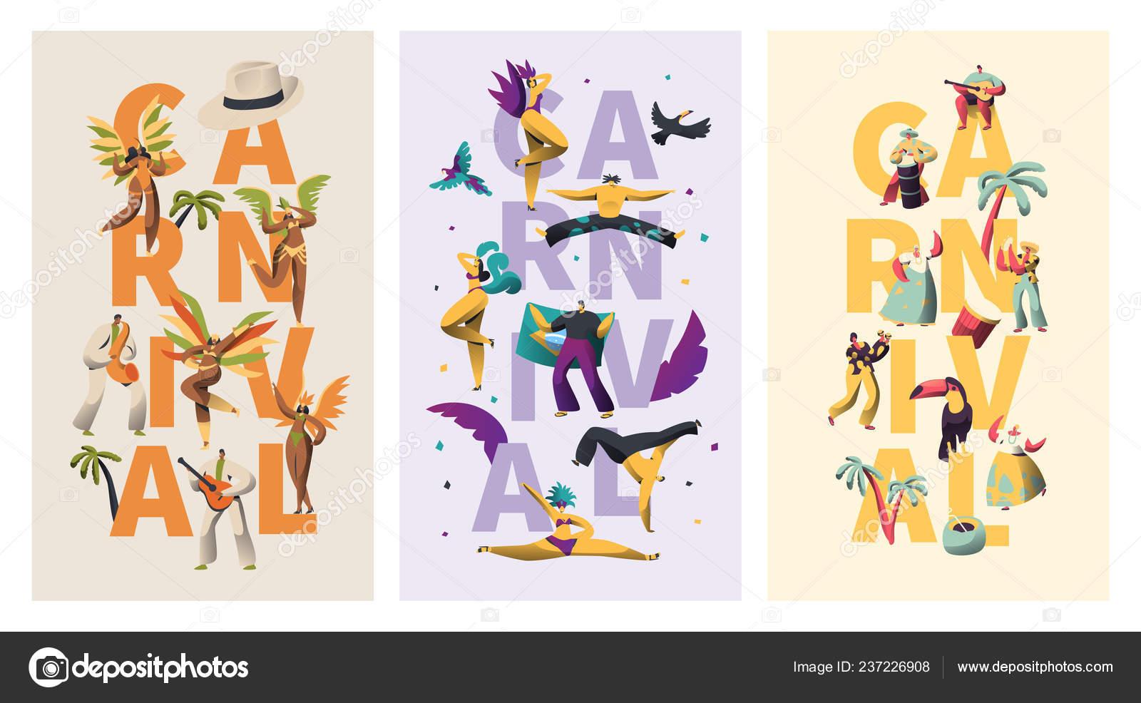 b6bca3a77dd5 Brasil Carnaval carácter exótico tipografía Banner conjunto. Pluma ...