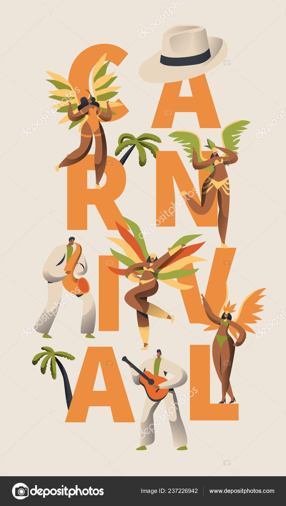 94568e7291a0 Samba brasileña carnaval Latino personaje cartel. Pluma Bikini mujer ...
