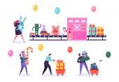 Fényképek Játék gyár szállítószalag csomag karácsonyi ajándék. Jelen Box gépipar automatizált termelési vonal. Emberek karakter közgyűlés Candy medve születésnap ünnep üdvözlőkártya-lapos rajzfilm vektoros illusztráció