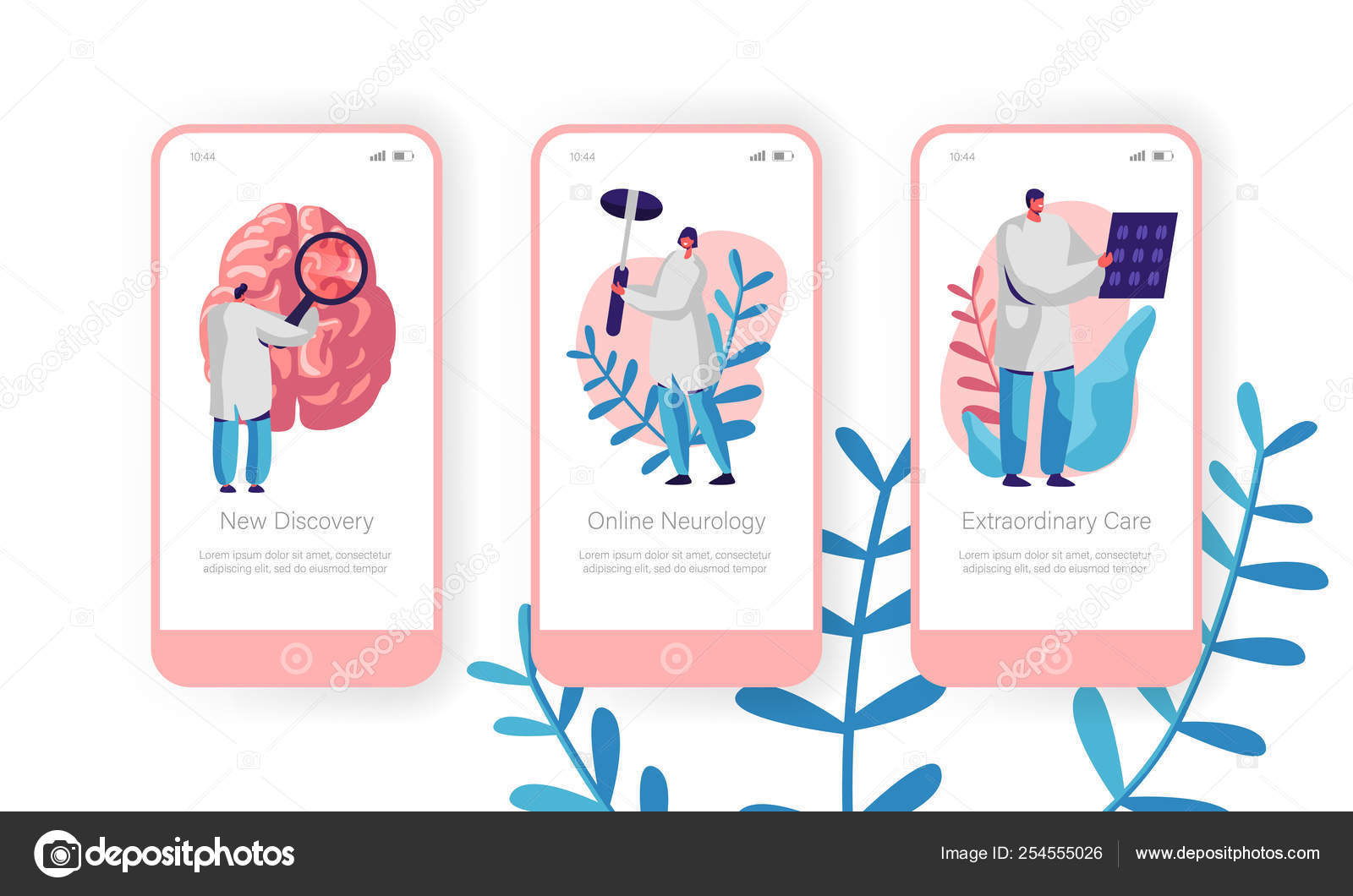 Hospital Neurology Department Mobile App Page Onboard Screen