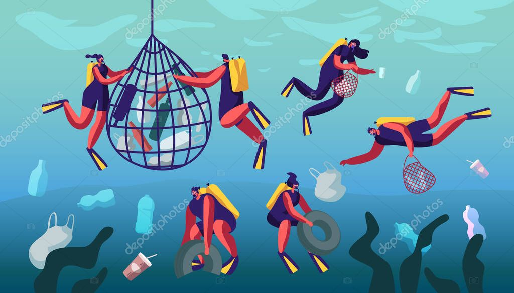 Divers Collecting Trash into Basket Underwater. Plastic Pollution of Sea with Different Kinds of Garbage. Wastes Floating in Ocean Water. Ecology Protection Concept. Cartoon Flat Vector Illustration