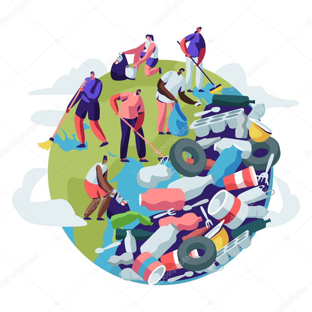 People Removing Trash from Planet. Male and Female Characters Cleaning Earth Surface with Rakes. Recycling Ecology Concept. People Saving Planet, World Environment Day Cartoon Flat Vector Illustration