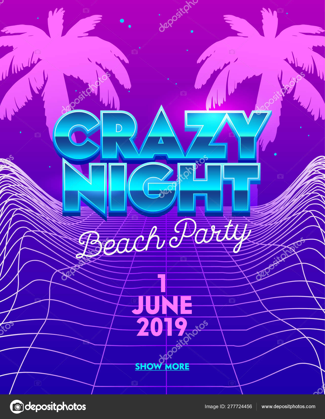 Crazy Night Beach Party Banner with Typography on Synthwave