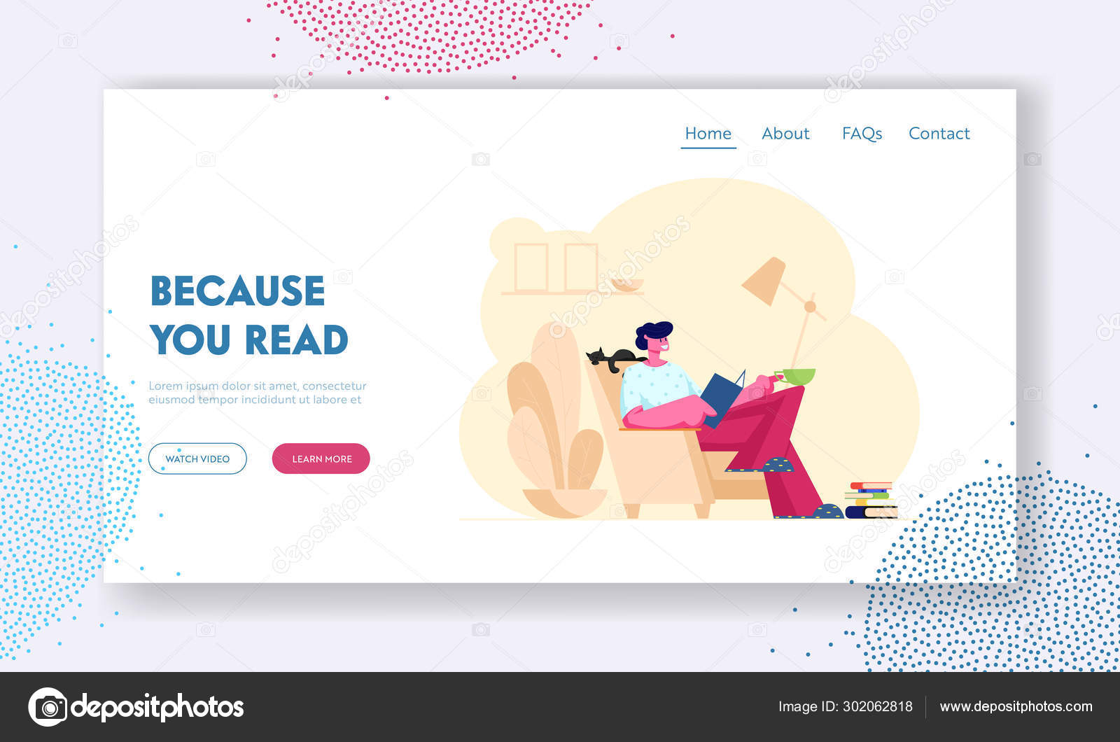 Reading Books Hobby Website Landing Page Young Man Reader