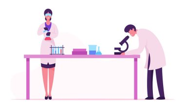 Scientists Conducting Experiment and Scientific Research in Science Laboratory, Man Look in Microscope, Woman Technician Holding Flask. Chemistry Science Staff at Work Cartoon Flat Vector Illustration