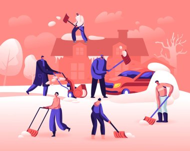 Happy People Shoveling and Removing Snow from Street. Characters Using Shovel and Snowblower for Cleaning Road, House Roof and Car after Snowfall. Winter Time Activity Cartoon Flat Vector Illustration