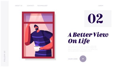 Morning Routine or Weekend Spare Time Website Landing Page. Smiling Bearded Man Looking Out of Open Window on Street with Cup of Tea or Coffee in Hand Web Page Banner. Cartoon Flat Vector Illustration