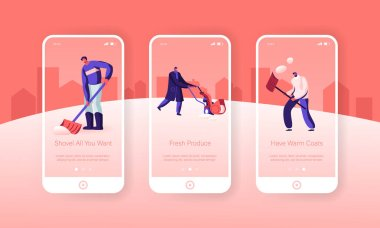 Winter Time Activity Mobile App Page Onboard Screen Set. Happy People Shoveling Removing Snow from Street with Shovel and Snowblower Concept for Website or Web Page, Cartoon Flat Vector Illustration