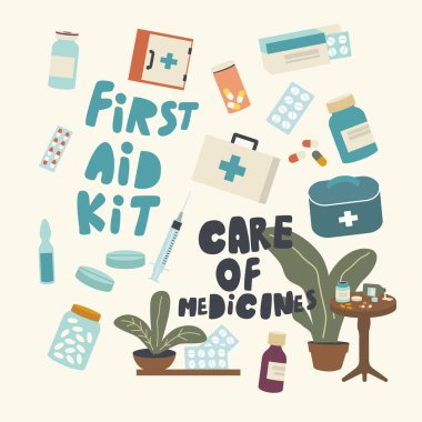 Set of Icons Medicines Care, Health, Drugs Safety and Comfortable Storage, First Aid Kit Theme. Pills Packed in Blister, Bottles and Boxes, Syringe, Ampoule and Tablets. Linear Vector Illustration icon